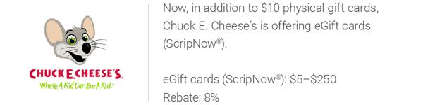 chuck e cheese scripnow