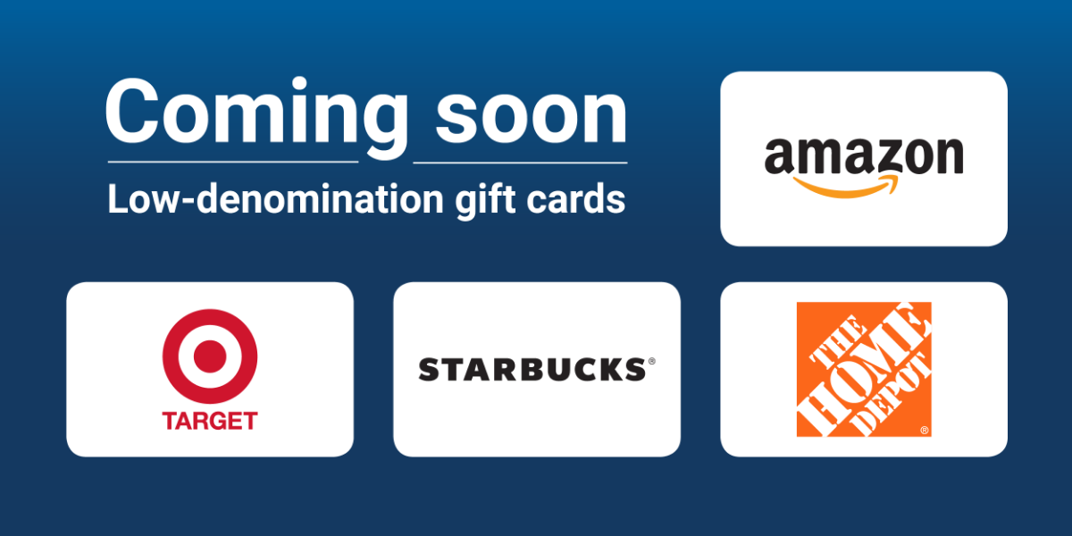Low denomination gift cards