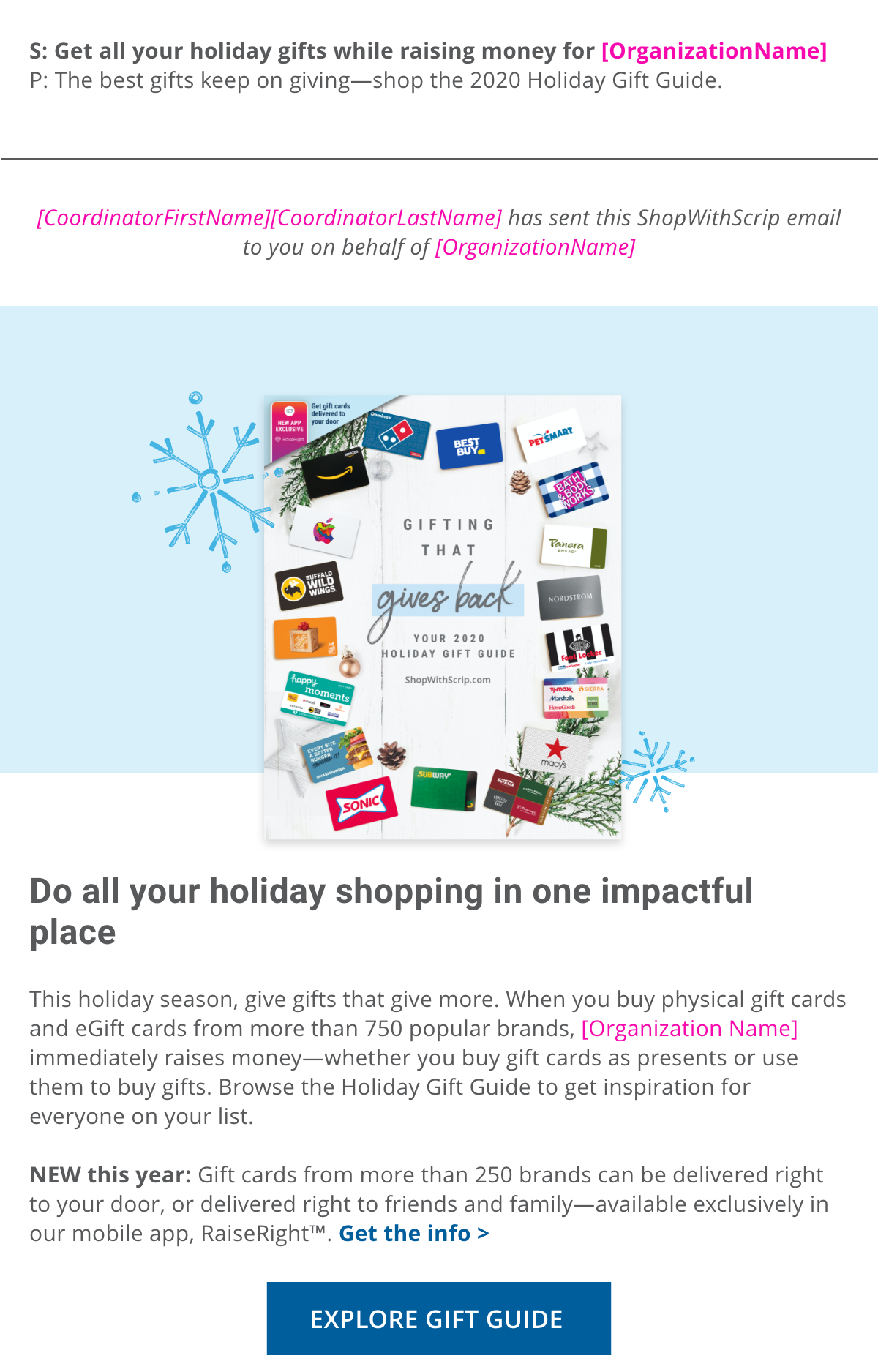 gift guide email tool